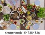 man having vege lunch  sitting... | Shutterstock . vector #547384528