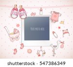 Stock vector baby girl shower card arrival card with place for your photo 547386349