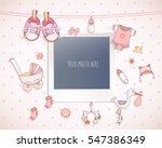 baby girl shower card. arrival... | Shutterstock .eps vector #547386349