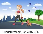 illustration of a cute girl and ... | Shutterstock . vector #547387618