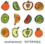 abstract cut fruit  melon  kiwi ... | Shutterstock .eps vector #547394560