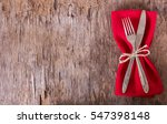 table set with red napkin. fork ... | Shutterstock . vector #547398148
