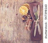 winter holiday dinner plate... | Shutterstock . vector #547398160