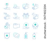 hygiene and sanitation icons set | Shutterstock .eps vector #547402204