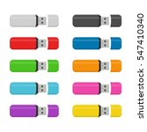 set colored flash drive usb... | Shutterstock .eps vector #547410340