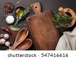 cooking table with herbs ... | Shutterstock . vector #547416616