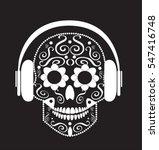 skull vector with headphone... | Shutterstock .eps vector #547416748