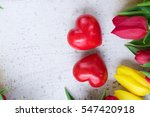 Yellow And Red Tulips With Wit...