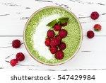 matcha green tea chia seed... | Shutterstock . vector #547429984