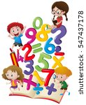 kids and numbers in the book... | Shutterstock .eps vector #547437178