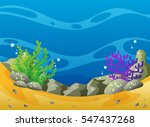 ocean scene with coral reef and ... | Shutterstock .eps vector #547437268