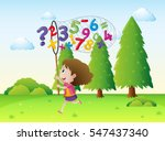 girl catching numbers and math... | Shutterstock .eps vector #547437340