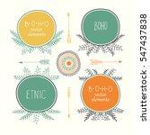 hand drawn boho style frames...   Shutterstock .eps vector #547437838