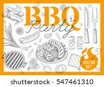set bbq party. barbecue... | Shutterstock .eps vector #547461310