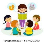woman reading a book to young... | Shutterstock .eps vector #547470640
