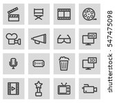 vector line movie icons set on... | Shutterstock .eps vector #547475098