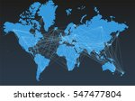 world map with big cities ... | Shutterstock .eps vector #547477804