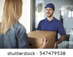 delivery man handing box to... | Shutterstock . vector #547479538
