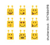 set of yellow chatbot emoji...