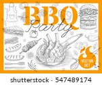set bbq party. barbecue... | Shutterstock .eps vector #547489174