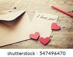 Envelope Or Letter  Red Hearts...