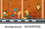 many kids doing different... | Shutterstock .eps vector #547499590