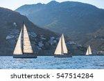 Small photo of Luxury yachts at sail regatta. Sailing near the Greek coast in the Aegean sea.