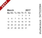 march 2017 calendar icon vector ... | Shutterstock .eps vector #547523584