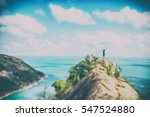 one man stands on a hill with... | Shutterstock . vector #547524880