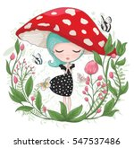 cute girl vector design... | Shutterstock .eps vector #547537486