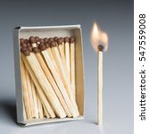 Small photo of Matches Box and One Match In Fire, Matchstick Burning Flame as Innovation Idea, Team Leader Concept