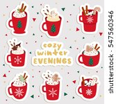 big set of cute cartoon winter...   Shutterstock .eps vector #547560346