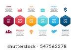 vector arrows hexagons timeline ... | Shutterstock .eps vector #547562278