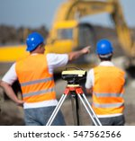 theodolite on tripod at road... | Shutterstock . vector #547562566