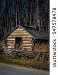 Small photo of Reproduction hut similar to those used by Revolutionary War soldiers during the winter of 1777-78 at Valley Forge, Pennsylvania, USA.