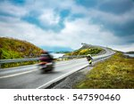 two bikers on motorcycles.... | Shutterstock . vector #547590460