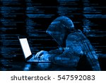 hacker in a blue hoody standing ... | Shutterstock . vector #547592083