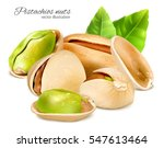 pistachio nuts with leaves.... | Shutterstock .eps vector #547613464