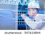 network engineer working in... | Shutterstock . vector #547614844