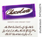 chocolate alphabet. vector font ... | Shutterstock .eps vector #547616374