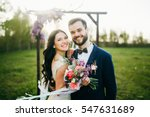 happy bride and groom after... | Shutterstock . vector #547631689