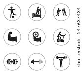 set of 9 editable sport icons....