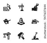 set of 9 editable building... | Shutterstock . vector #547637644