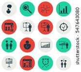 set of 16 authority icons.... | Shutterstock . vector #547643080