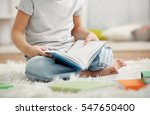 cute little boy sitting on the... | Shutterstock . vector #547650400