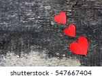 Cut From Paper Red Hearts....