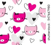 Seamless Pattern With Cat And...