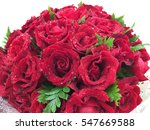 Red Roses Bouquet On White...
