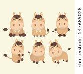 A Set Of Cute Brown Cartoon...