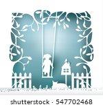 tree with swinging kid   paper ... | Shutterstock .eps vector #547702468